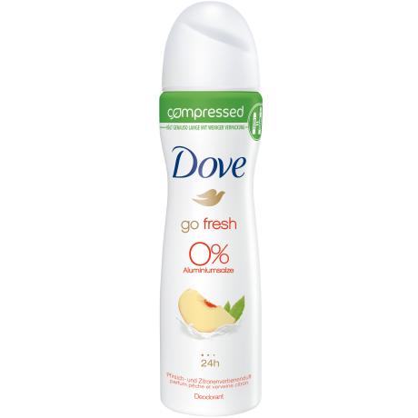 Dove Go Fresh 0% Pfirsich- und Zitronenverbenenduft compressed Deodorant-Spray 75 ml