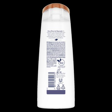 PNG - Shampoo para reparar a força do cabelo danificado Dove Ritual de Reparação com o óleo de coco e cúrcuma 200 ML