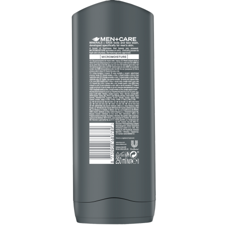 PNG - Dove Men+Care Minerals and Sage male body and face wash 250 ml