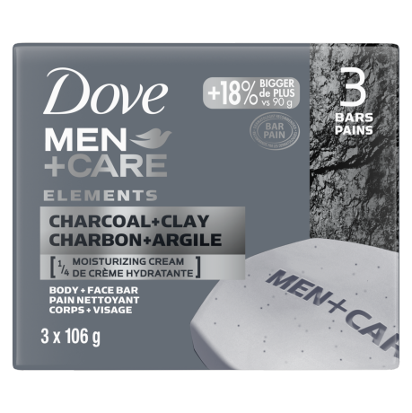 Pain Men+Care Elements Charbon + argile 3 x 106 g