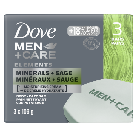 Men+Care Minerals + Sage Body and Face Bar 3x 106g