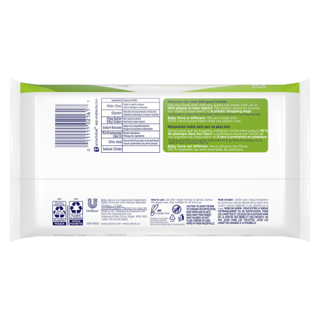 Baby Dove Sensitive Skin 100% Plant-Based Fibers Baby Wipes 63ct Back
