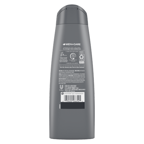 Dove Men+Care Fresh & Clean Fortifying 2-in-1 Shampoo 355ml Back of Pack