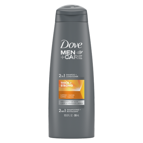 Dove Men+Care Thick and Strong Fortifying 2in1 Shampoo + Conditioner 355mL Front of Pack
