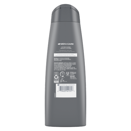 Men+Care Oxygen Charge Shampoo 355ml Back of Pack