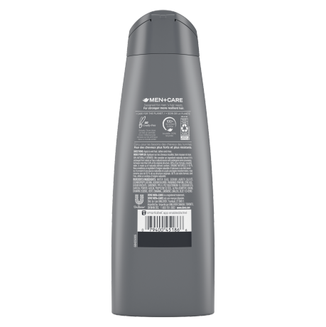 Dove Men+Care Elements Charcoal Purifying Shampoo 12 oz Back of Pack