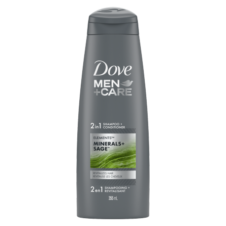 Men+Care Minerals + Sage 2-in-1 Shampoo 355ml Front of Pack