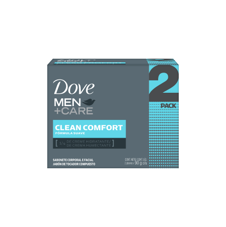 Dove Men + care Dove. Clean comfort. Fórmula eficaz. 1/4 de crema humectante.