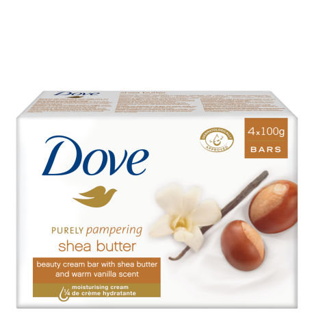 Dove Sabonete Purely Pampering Shea Butter & Warm Vanilla 4x100g