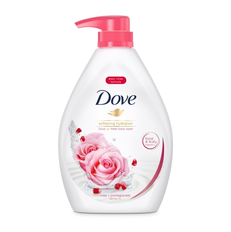 Dove Go Fresh Soft Skin Body Wash Rose Pomegranate 1L