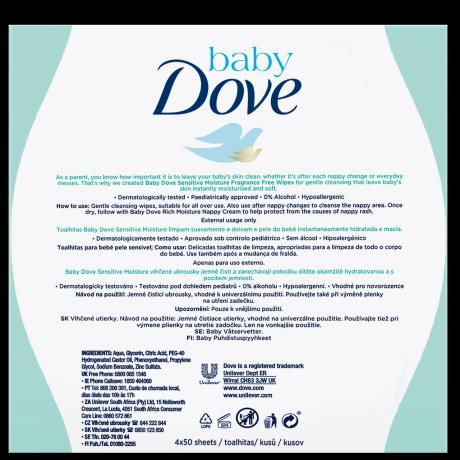 Baby Dove Sensitive Moisture Wipes 4x50 MP BOP