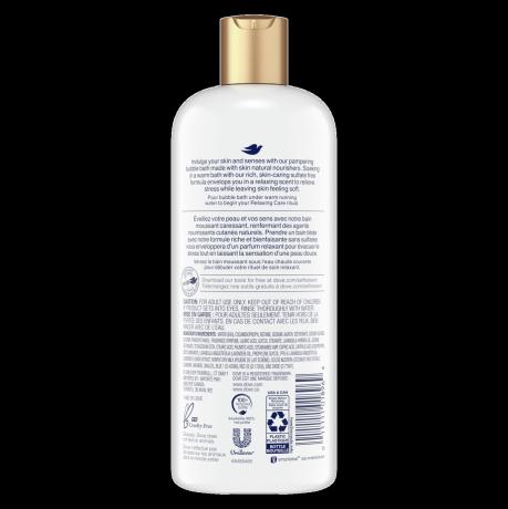 étiquette de dos du bain moussant relaxing care lavender & chamomile