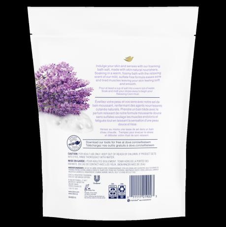 étiquette de dos des sels de bain relaxing care Parfum de lavande et camomille