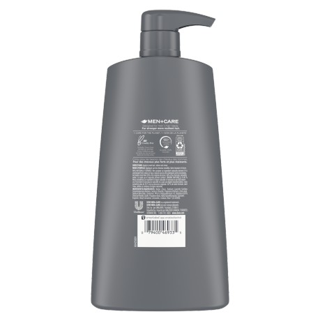 Dove Men+Care Elements Charcoal Purifying Shampoo 25.4 oz Back of Pack