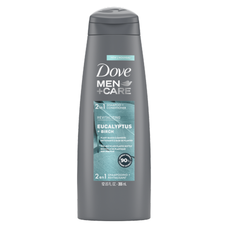 Étiquette de front du shampooing + revitalisant 2 en 1 Dove Men+Care Eucalyptus + Birch 12 oz