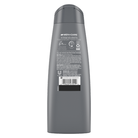 Étiquette de dos du shampooing + revitalisant 2 en 1 Dove Men+Care Eucalyptus + Birch 12 oz