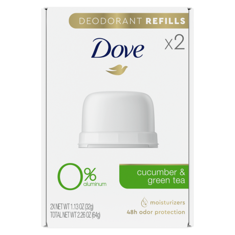 Dove Stick Deodorant Refills 0% Aluminum Cucumber & Green Tea Refill Kit
