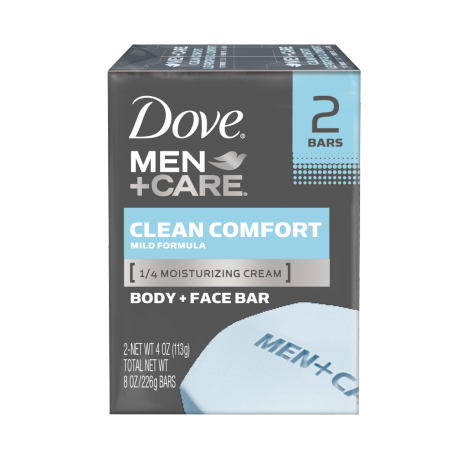 Dove Men+Care Clean Comfort Body and Face Bar 4 oz 2pk