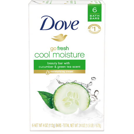 Dove Beauty Bar Go Fresh Cool Moisture 4.0 oz 6 Bar