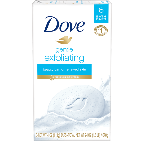 Dove Gentle Exfoliating Beauty Bar 4 oz 6 Bar