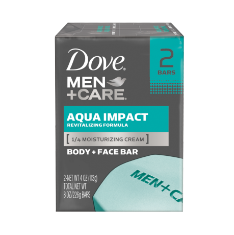 Dove Men+Care Aqua Impact Body and Face Bar 4 oz 2pk