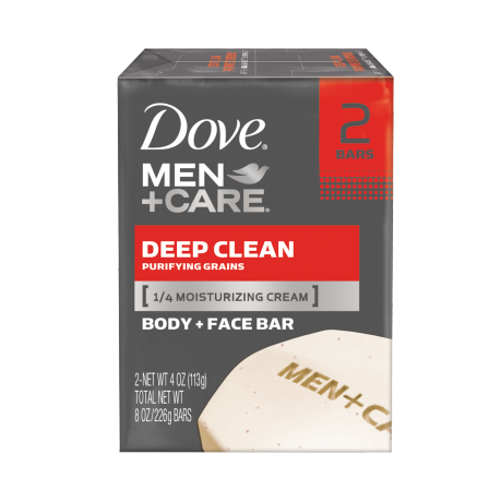 Dove Men+Care Deep Clean Body and Face Bar 4.0 oz 2pk