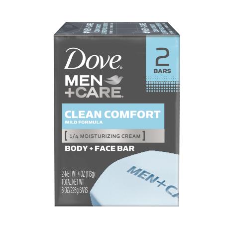 Dove Men+Care Clean Comfort Body and Face Bar 4 oz 2pk