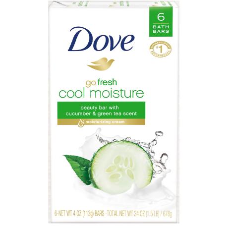 Dove Beauty Bar Go Fresh Cool Moisture 4.0 oz 6 Bar