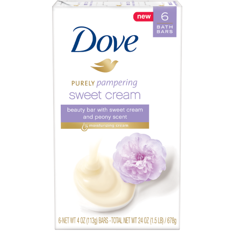 Dove Purely Pampering Sweet Cream and Peony Beauty Bar 6 bar 4 oz